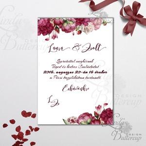 Elegáns Esküvői meghívó, Vintage meghívó, rózsás Esküvői lap, lbordó virágos lap, rózsa meghívó, marsala, Esküvő, Meghívó, ültetőkártya, köszönőajándék, Naptár, képeslap, album, Otthon & lakás, Esküvői dekoráció, Fotó, grafika, rajz, illusztráció, Papírművészet, Minőségi  Esküvői  Meghívó\n\n* MEGHÍVÓ CSOMAG BORÍTÉKKAL:\n- Meghívó egy lap, egy oldalas: kb.: 14cm x..., Meska
