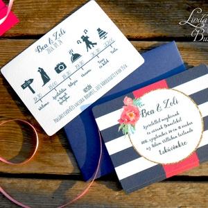Nyári Elegáns Balatoni Esküvői meghívó, Nyári Esküvő, Tenger kék, virágok, virágos, balaton, Modern (LindaButtercup) - Meska.hu