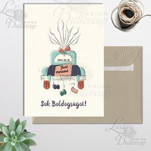 Esküvői Képeslap, Ujjlenyomat lufi, autó, Pénzátadó boríték, személyre szabott, egyedi nászajándék, Esküvő, Meghívó, ültetőkártya, köszönőajándék, Otthon & lakás, Nászajándék, Festészet, Fotó, grafika, rajz, illusztráció, Esküvői egyedi személyre szóló ujjlenyomat képeslap A/6, gyönyörű fényes borítékkal.\n\nSzemélyre szól..., Meska