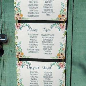 Vintage Esküvő, Ültetési rend, Esküvői Ültetésrend, Virágos, Rusztikus, Esküvő ültető kártya, Dekor, Party, Esküvő, Ültetési rend, Meghívó & Kártya, Virágos Esküvői Ültetési rend.  Gyönyörű Igényes Esküvői Ültetési rend, A4-es lapok, szalaggal össze..., Meska