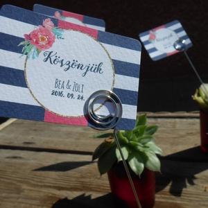 Esküvői ültető kártya fém dróttal, tartóval, köszönet kártya, köszönet ajándék, kövirózsa virág (LindaButtercup) - Meska.hu