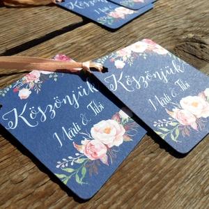 Esküvői köszönetkártya, szatén szalag, köszönjük lap, köszönetajándék, ajándékkísérő, kék virágos (LindaButtercup) - Meska.hu