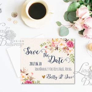 Save the date, jegyezd fel, FACEBOOK POST MEGHÍVÓ, Értesítő, Virágos, digitális lap, JPG (LindaButtercup) - Meska.hu