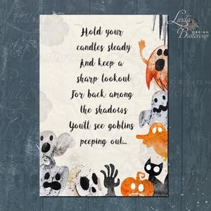 Halloween Kép, Halloween party, Halloween Dekoráció, Őszi Ajtódíszr (LindaButtercup) - Meska.hu