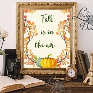 Őszi dekoráció, őszi falikép, őszi falevelek, levél festmény, őszi kép, levél falikép, dekor, tök  - otthon & lakás - dekoráció - kép & falikép - Meska.hu