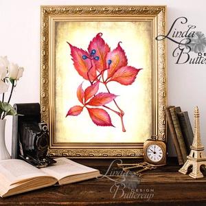Őszi dekoráció, őszi falikép, őszi falevelek, levél festmény, őszi kép, levél falikép, dekor, tök , Otthon & Lakás, Kép & Falikép, Dekoráció, Fotó, grafika, rajz, illusztráció, Mindenmás, Meska