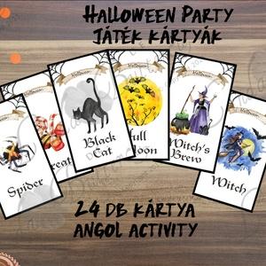 Halloween party kártya, Játék kártya, Halloween buli, halloween dekor, halloween lap, boszorkány, pók, tök (LindaButtercup) - Meska.hu