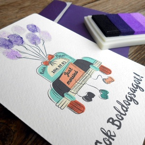 Pénz átadó boríték, Nászajándék, Gratulálunk képeslap, Esküvői Gratuláció, pénz, ujjlenyomat, Nászajándék, Emlék & Ajándék, Esküvő, Fotó, grafika, rajz, illusztráció, Papírművészet, Igényes Egyedi Ujjlenyomatos Pénz Átadó Képeslap Prémium fényes Borítékkal\n\nAdd át nászajándékodat e..., Meska