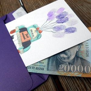 Pénz átadó boríték, Nászajándék, Gratulálunk képeslap, Esküvői Gratuláció, pénz, ujjlenyomat (LindaButtercup) - Meska.hu