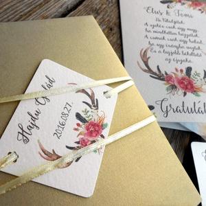 Pénz átadó boríték, Nászajándék, Gratulálunk képeslap, Esküvői Gratuláció, Esküvői pénz lap, Esküvő, Nászajándék, Meghívó, ültetőkártya, köszönőajándék, Otthon & lakás, Fotó, grafika, rajz, illusztráció, Papírművészet, Igényes Rusztikus Pénz Átadó Képeslap Prémium fényes Borítékkal\n\nAdd át nászajándékodat ezzel a gyön..., Meska