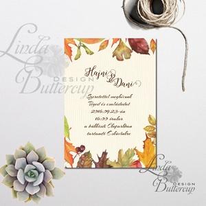 Őszi Esküvői meghívó, Rusztikus Esküvő, Vintage Esküvő, Bohém Esküvői képeslap, rusztikus, őszi levelek (LindaButtercup) - Meska.hu