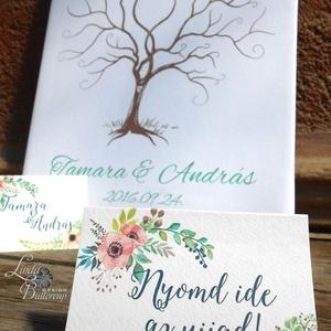 Ujjlenyomatfa, Esküvői fa, Esküvői ujjlenyomat fa, szerelmes madár pár, Rusztikus Esküvői dekor, Fa festmény (LindaButtercup) - Meska.hu