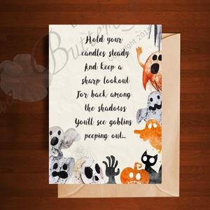 Halloween Képeslap, Halloween Üdvözlőlap, Őszi narancssárga lap, Halloween, Halloweeni meghívó, képeslap, ajándékkísérő, Fotó, grafika, rajz, illusztráció, Mindenmás, Meska