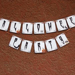 Halloween dekoráció, Zászlófüzér, Halloween dísz, Hallowenn party, dekor, ősz, őszi dekor, Otthon & Lakás, Felirat, Dekoráció, Halloween Party Zászlófüzér Narancs szatén szalaggal  Hossza: Kb: 1.3 M Kártyák méret: 10x9cm  Tökél..., Meska