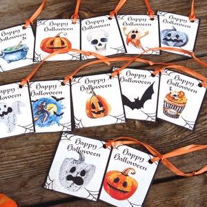 Halloween ajándék kártya, Halooween dekor, Kísérőkártya, Halloween party, képeslap, ajándékkísérő, Otthon & Lakás, Dísztárgy, Dekoráció, Halloween Ajándék kísérőkártya 12 Darabos különféle mintákból álló csomag narancs szatén szalaggal. ..., Meska