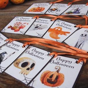 Halloween ajándék kártya, Halooween dekor, Kísérőkártya, Halloween party, képeslap, ajándékkísérő, Játék & Gyerek, Nyuszi, Plüssállat & Játékfigura, Halloween Ajándék kísérőkártya 12 Darabos különféle mintákból álló csomag narancs szatén szalaggal. ..., Meska