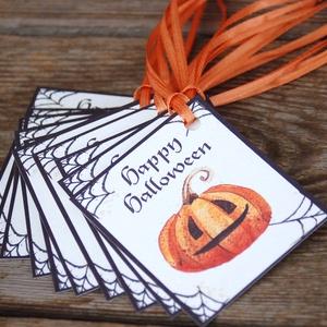 Halloween ajándék kártya, Halooween dekor, Kísérőkártya, Halloween party, képeslap, ajándékkísérő, Kutya, Plüssállat & Játékfigura, Játék & Gyerek, Fotó, grafika, rajz, illusztráció, Papírművészet, Halloween Ajándék kísérőkártya 12 Darabos különféle mintákból álló csomag narancs szatén szalaggal.\n..., Meska