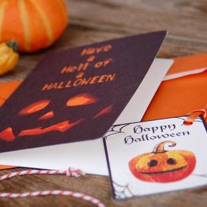 Halloween Képeslap, Halloween Üdvözlőlap, Party Meghívó, Őszi dekor, ajándékkártya, kísérőkártya, Otthon & Lakás, Képeslap & Levélpapír, Papír írószer, Fotó, grafika, rajz, illusztráció, Mindenmás, Meska
