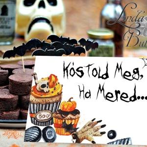 Halloween dekoráció, tábla, Halloween dísz, Hallowenn party, dekor, képeslap, őszi, party kellék, kép, festmény, Halloween, Halloweeni meghívó, képeslap, ajándékkísérő, Fotó, grafika, rajz, illusztráció, Mindenmás, Meska