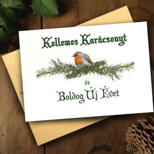 Vintage Karácsonyi Képeslap, Adventi Képeslap, Karácsonyi lap, Karácsonyi üdvözlőlap, Karácsonyi képeslap, Karácsony & Mikulás, Otthon & Lakás, Fotó, grafika, rajz, illusztráció, Mindenmás, A/6-os méretű Igényes Egyedi Karácsonyi képeslap, piros borítékkal.\n\nA saját magam által tervezett Ü..., Meska