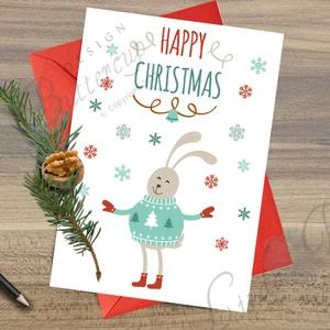Karácsonyi Képeslap, Adventi Képeslap, Karácsonyi Nyuszi, Karácsonyi üdvözlőlap, Ünnepi képeslap , Karácsony, Karácsonyi ajándékozás, Karácsonyi képeslap, üdvözlőlap, ajándékkísérő, Fotó, grafika, rajz, illusztráció, Mindenmás, Meska