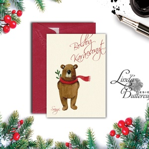 Karácsonyi Képeslap, Személyes, Névre szóló képeslap, Adventi kártya, Karácsonyi üdvözlőlap, Ünnepi, maci  (LindaButtercup) - Meska.hu
