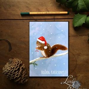 Karácsonyi Képeslap, Állatos, Mókus, Adventi, Karácsonyi üdvözlőlap, Ünnepi képeslap, Mikulás, hó, Otthon & Lakás, Karácsonyi képeslap, Karácsony & Mikulás, A/6-os méretű Igényes kinyitható Egyedi Karácsonyi képeslap, borítékkal.  Kinyitható, belül üres saj..., Meska