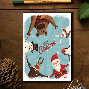 Karácsonyi Képeslap, állatos, Adventi, Karácsonyi üdvözlőlap, Ünnepi képeslap, maci, téli állatok, mikulás, Karácsonyi képeslap, Karácsony & Mikulás, Otthon & Lakás, Fotó, grafika, rajz, illusztráció, Mindenmás, A/6-os méretű Igényes kinyitható Egyedi Karácsonyi képeslap, borítékkal.\n\nKinyitható, belül üres saj..., Meska