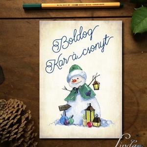 Karácsonyi Képeslap, Adventi Képeslap, Vintage Karácsony, Karácsonyi üdvözlőlap, Ünnepi lap, kártya, hóember, Képeslap & Levélpapír, Papír írószer, Otthon & Lakás, Fotó, grafika, rajz, illusztráció, Mindenmás, A/6-os méretű Igényes kinyitható Egyedi Karácsonyi képeslap, borítékkal.\n\nKinyitható, belül üres saj..., Meska