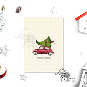 Karácsonyi Képeslap, Retro, Adventi Kártya, Vintage Karácsonyi üdvözlőlap, Ünnepi lap, Vintage, fenyőfa (LindaButtercup) - Meska.hu