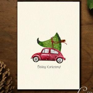 Karácsonyi Képeslap, Retro, Adventi Kártya, Vintage Karácsonyi üdvözlőlap, Ünnepi lap, Vintage, fenyőfa, Otthon & Lakás, Karácsonyi képeslap, Karácsony & Mikulás, A/6-os méretű Igényes kinyitható Egyedi Karácsonyi képeslap, borítékkal.  Kinyitható, belül üres saj..., Meska