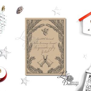 Karácsonyi Képeslap, Retro, Vintage, Adventi Kártya, Vintage Karácsonyi üdvözlőlap, Ünnepi lap, harang - karácsony - karácsonyi ajándékozás - karácsonyi képeslap, üdvözlőlap, ajándékkísérő - Meska.hu