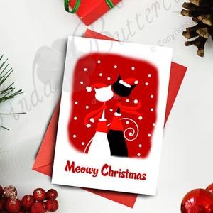 Karácsonyi Képeslap, Adventi Képeslap, Karácsonyi Cica, Karácsonyi üdvözlőlap, Ünnepi képeslap, Cicás lap, Otthon & Lakás, Képeslap & Levélpapír, Papír írószer, A/6-os méretű Igényes Egyedi Karácsonyi képeslap, piros borítékkal.   A  saját magam által tervezett..., Meska