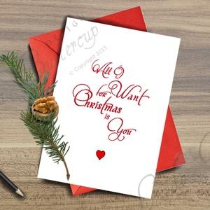 Karácsonyi Képeslap, Adventi Képeslap, Karácsonyi Dekoráció, Karácsonyi Szerelmes üdvözlőlap , Otthon & Lakás, Karácsonyi képeslap, Karácsony & Mikulás, A/6-os méretű Igényes Egyedi Karácsonyi képeslap, piros borítékkal.   A saját magam által tervezett ..., Meska