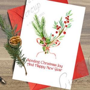 Karácsonyi Képeslap, Vintage lap, Adventi Képeslap,Vintage Karácsony, Karácsonyi üdvözlőlap, Ünnepi képeslap , Otthon & Lakás, Karácsonyi képeslap, Karácsony & Mikulás, A/6-os méretű Igényes Vintage stílusú Egyedi Karácsonyi képeslap, piros borítékkal.   A saját magam ..., Meska