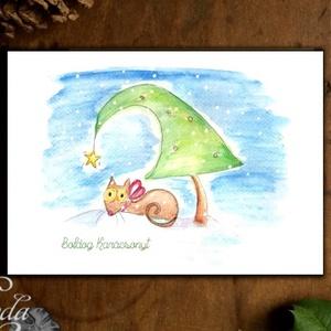Karácsonyi Képeslap, Állatos, cicás, Cuki, Adventi, cica, Karácsonyi üdvözlőlap, Ünnepi ap, Karácsonyfa, hó, Karácsony, Karácsonyi ajándékozás, Karácsonyi képeslap, üdvözlőlap, ajándékkísérő, Fotó, grafika, rajz, illusztráció, Mindenmás, Meska