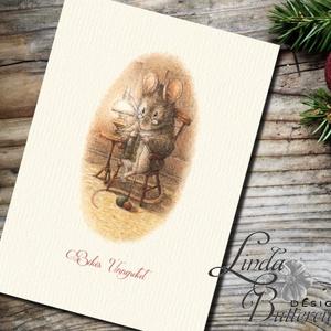 Karácsonyi Képeslap, Vintage, Állatos, Egér, Cuki, Adventi, Egérke, üdvözlőlap, Ünnepi lap, hó, klasszikus, Karácsonyi képeslap, Karácsony & Mikulás, Fotó, grafika, rajz, illusztráció, Mindenmás, A/6-os méretű Igényes kinyitható Egyedi Karácsonyi képeslap, borítékkal.\n\nKinyitható, belül üres saj..., Meska
