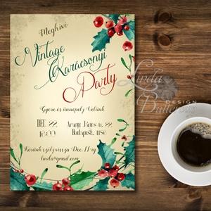 Karácsonyi Party Meghívó, Vintage meghívó, Kari Buli, Vintage party, Retro party, karácsony, klasszikus, elegáns, Karácsony, Karácsonyi ajándékozás, Karácsonyi képeslap, üdvözlőlap, ajándékkísérő, Fotó, grafika, rajz, illusztráció, Papírművészet, Meska