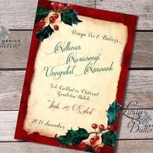 Névre szóló Karácsonyi Képeslap, Retro, Vintage, Adventi Kártya,üdvözlőlap, személyre szóló lap, egyedi (LindaButtercup) - Meska.hu