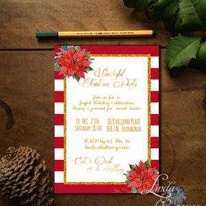 Karácsonyi Céges Party Meghívó, Elegáns meghívó, Kari Buli, egyedi, karácsony, klasszikus, cég buli, Karácsonyi képeslap, Karácsony & Mikulás, Otthon & Lakás, Fotó, grafika, rajz, illusztráció, Papírművészet, Elegáns Karácsonyi  Céges Party meghívó\n\nHívd meg vendégeidet ezzel a gyönyörű egyedi meghívóval a K..., Meska