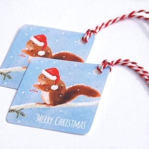 Karácsonyi Ajándékkísérő, Adventi Kártya, Mókus, Mikulás, hóesés, vízfesték, Ünnepi kártya, kiskártya, ajándék,, Karácsonyi dekoráció, Karácsony & Mikulás, Otthon & Lakás, Fotó, grafika, rajz, illusztráció, Mindenmás, 6 DB-os Ajándékkártya szett \n\n6 DB 5.8cm X  5.8cm méretű Igényes, Egyedi Karácsonyi Ajándékkísérő kö..., Meska