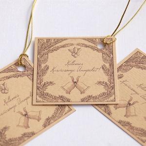 Vintage Karácsonyi Ajándékkísérő, Adventi Kártya, Mikulás, harang, barna, Ünnepi kártya, kiskártya, ajándék, arany, Mikulás, Karácsony & Mikulás, Otthon & Lakás, Fotó, grafika, rajz, illusztráció, Mindenmás, 6 DB-os Vinateg stílusú Ajándékkártya szett \n\n6 DB 5.8cm X  5.8cm méretű Igényes, Egyedi Karácsonyi ..., Meska