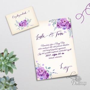 Elegáns Esküvői meghívó, Vintage Esküvő, Virágos, Lila virág, Lila esküvő, Levendula, Vintage Meghívó, tavaszi, nyári, Esküvő, Meghívó, Meghívó & Kártya, Minőségi Virágos Esküvői  Meghívó  * MEGHÍVÓ CSOMAG BORÍTÉKKAL: - 1.  Meghívó lap, egy oldalas: 10cm..., Meska