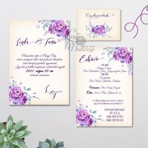 Elegáns Esküvői meghívó, Vintage Esküvő, Virágos, Lila virág, Lila esküvő, Levendula, Vintage Meghívó, tavaszi, nyári (LindaButtercup) - Meska.hu