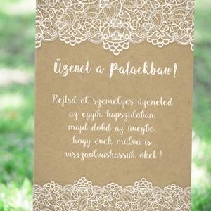 Esküvői Poszter A2, Esküvői kép, Esküvő Dekor, Esküvői felirat, Vintage, tábla, Csipke,Zsákvászon, üzenet a palackban (LindaButtercup) - Meska.hu