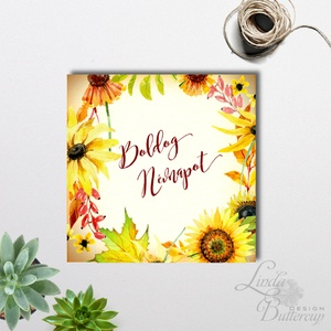 Névnapi Virágos Képeslap, névre szóló lap, személyre szóló, virág, napraforgó, őszi, sárga, Boldog Névnapot kártya (LindaButtercup) - Meska.hu
