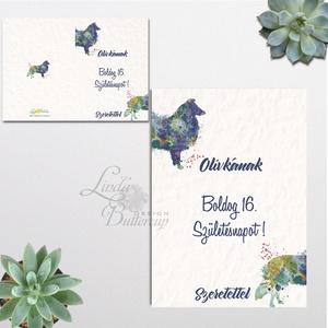 Születésnapi Kutyás Képeslap, névre szóló lap, személyre szóló lap, ajándék, kutya, Boldog Születésnap kártya, Szülinap (LindaButtercup) - Meska.hu