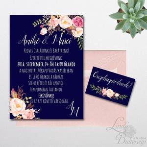 Elegáns Esküvői meghívó, Nyári Esküvő, Tenger kék meghívó, Barack virágok, nyári virágos meghívó, Modern (LindaButtercup) - Meska.hu