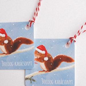 Állatos Karácsonyi Ajándékkísérő, Mókus, Adventi Kártya, Mikulás sapka, piros, Ünnepi, kiskártya, ajándék, natúr, egyedi - karácsony - karácsonyi ajándékozás - karácsonyi képeslap, üdvözlőlap, ajándékkísérő - Meska.hu