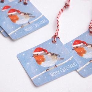 Állatos Karácsonyi Ajándékkísérő, Madár, Adventi Kártya, Mikulás sapka, piros, Ünnepi, kiskártya, ajándék, natúr, egyedi, Karácsonyi képeslap, Karácsony & Mikulás, Otthon & Lakás, Fotó, grafika, rajz, illusztráció, Mindenmás, Állatos Igényes Ajándékkártya darabra\n\n* Kártya mérete: Kb:  5.9cm x5.9cm\n* Hátoldal üres, saját üze..., Meska